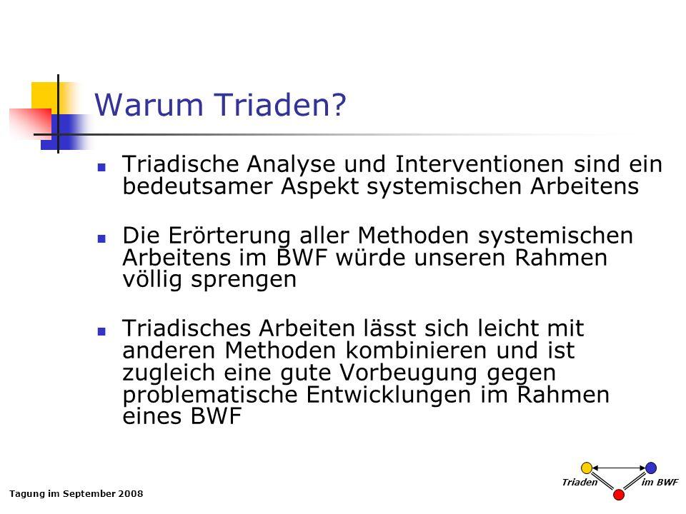 Warum Triaden Triadische Analyse und Interventionen sind ein bedeutsamer Aspekt systemischen Arbeitens.