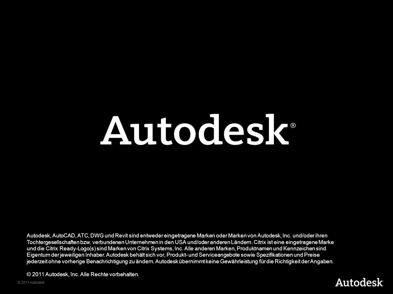 Autodesk, AutoCAD, DWG, and Revit are registered trademarks or trademarks of Autodesk, Inc., and/or its subsidiaries and/or affiliates in the USA and/or other countries. All other brand names, product names, or trademarks belong to their respective holders. Autodesk reserves the right to alter product and services offerings, and specifications and pricing at any time without notice, and is not responsible for typographical or graphical errors that may appear in this document.