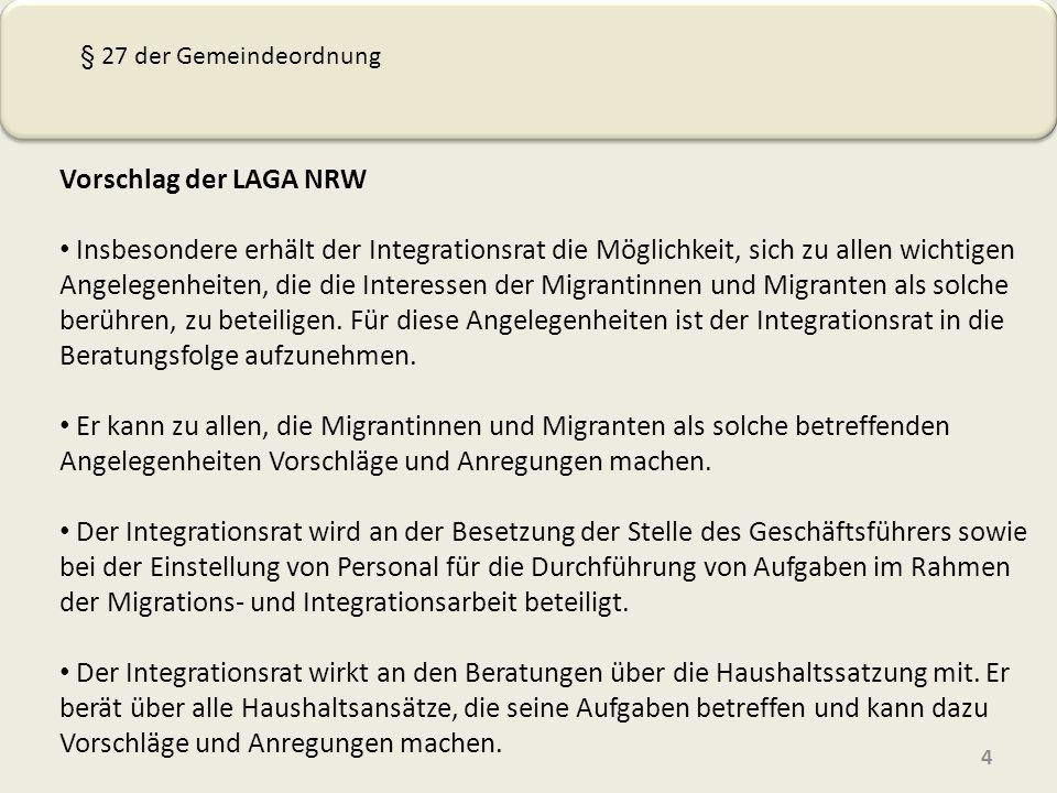 § 27 der Gemeindeordnung Vorschlag der LAGA NRW.