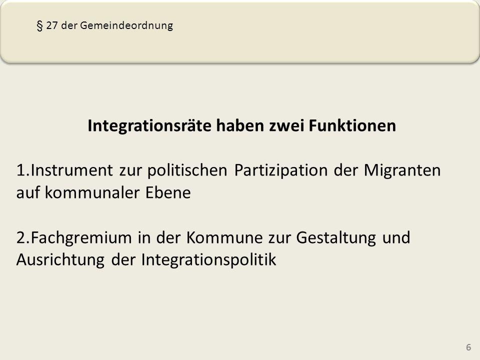 Integrationsräte haben zwei Funktionen