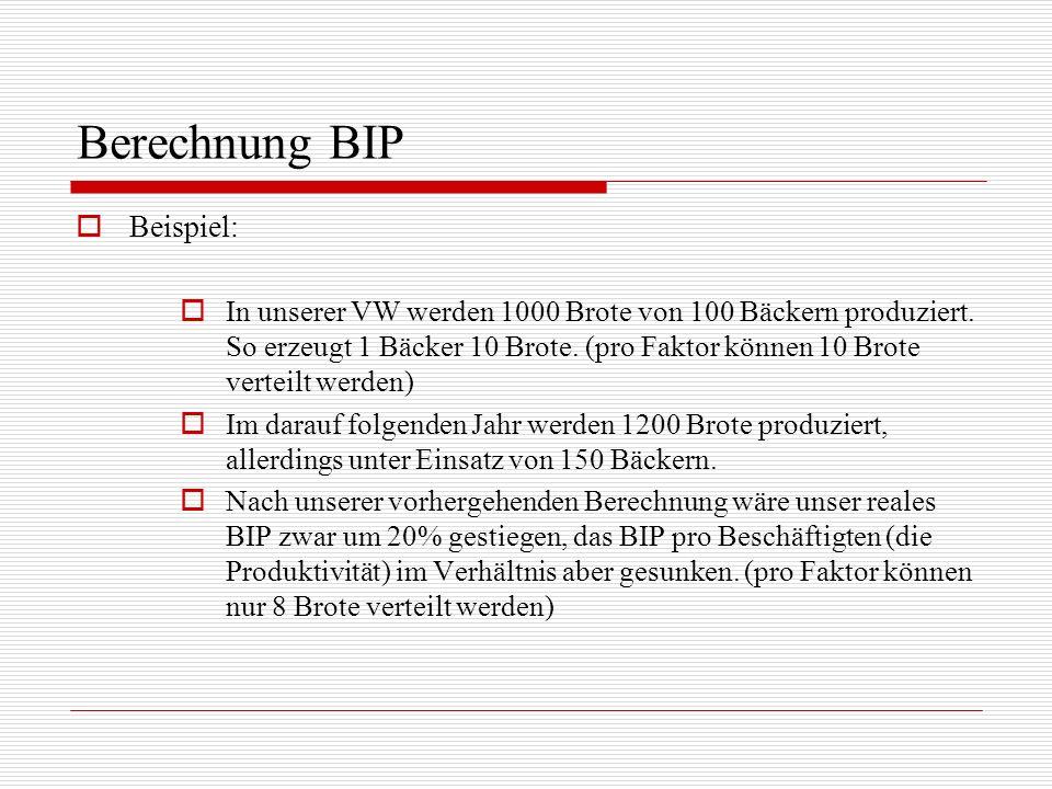 Berechnung BIP Beispiel: