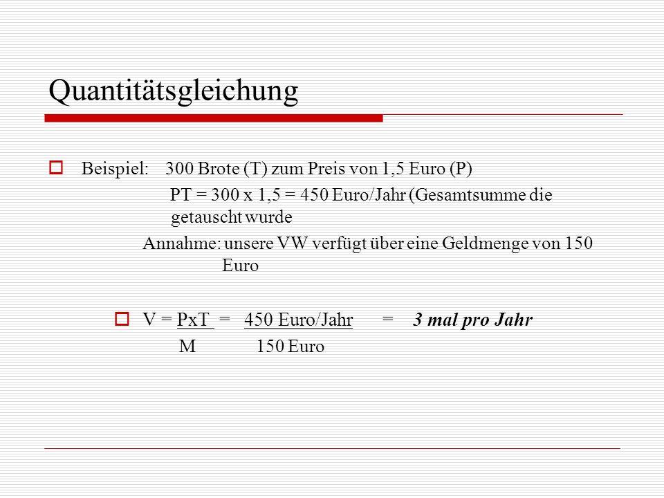 Quantitätsgleichung V = PxT = 450 Euro/Jahr = 3 mal pro Jahr