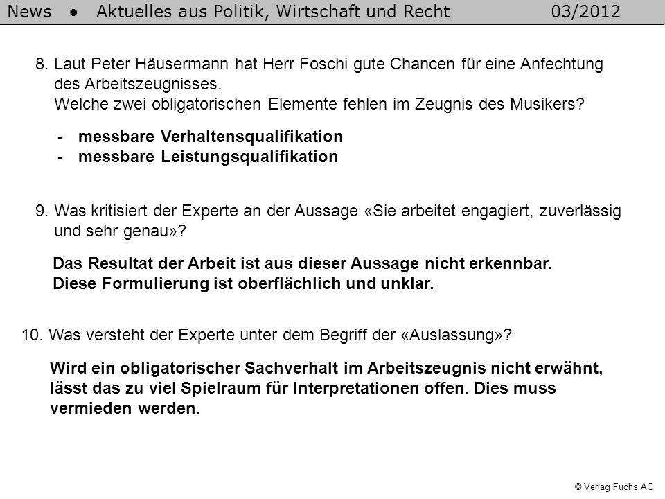 8. Laut Peter Häusermann hat Herr Foschi gute Chancen für eine Anfechtung