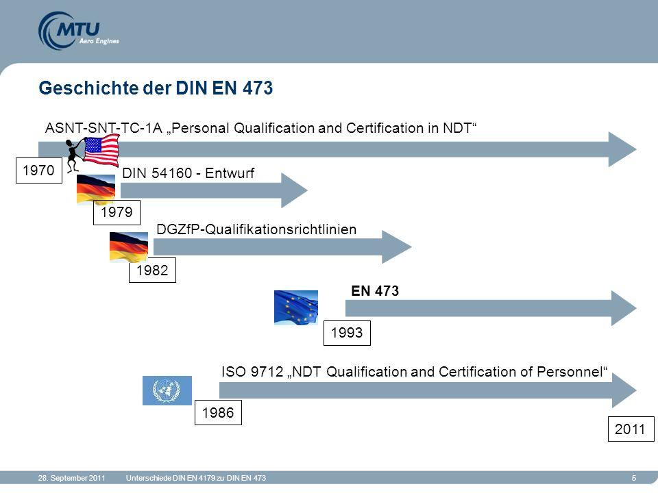 "Geschichte der DIN EN 473 ASNT-SNT-TC-1A ""Personal Qualification and Certification in NDT 1970. DIN 54160 - Entwurf."