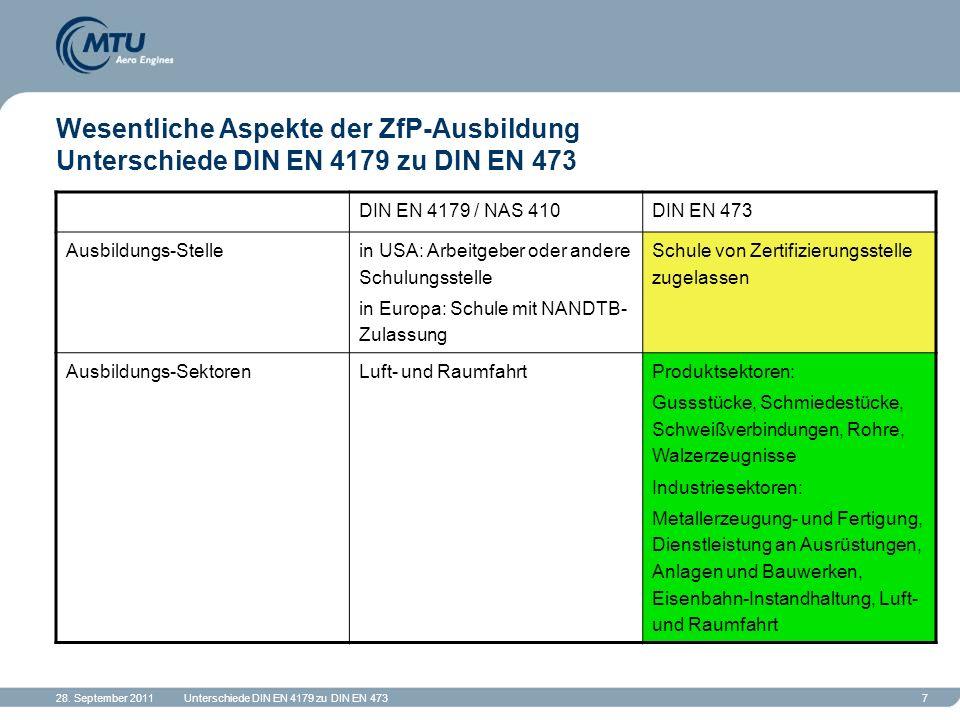 Wesentliche Aspekte der ZfP-Ausbildung Unterschiede DIN EN 4179 zu DIN EN 473