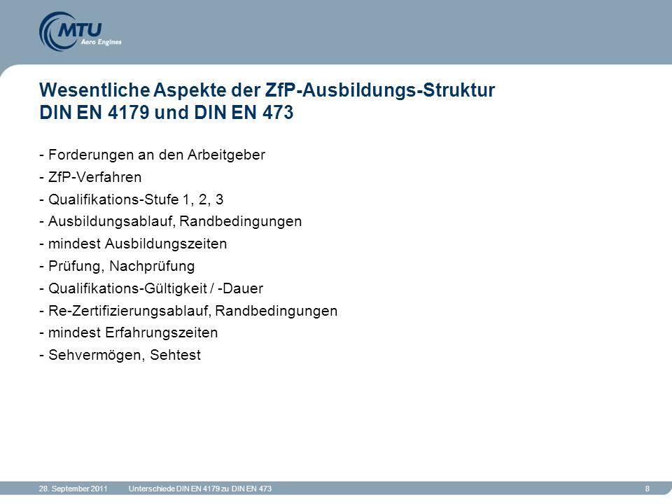 Wesentliche Aspekte der ZfP-Ausbildungs-Struktur DIN EN 4179 und DIN EN 473