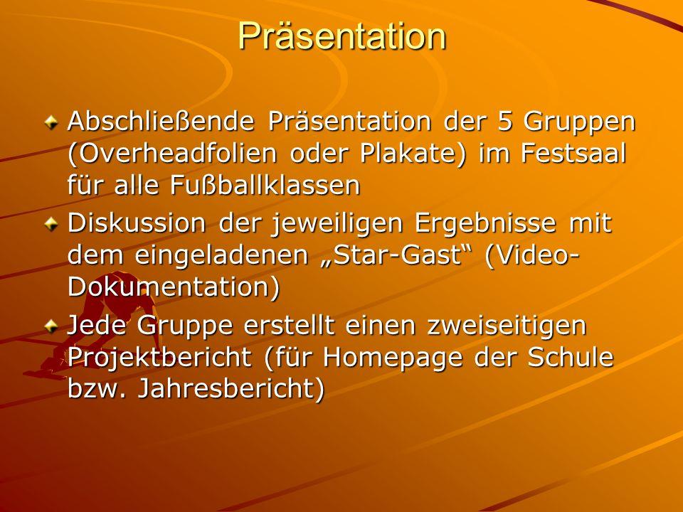 Präsentation Abschließende Präsentation der 5 Gruppen (Overheadfolien oder Plakate) im Festsaal für alle Fußballklassen.