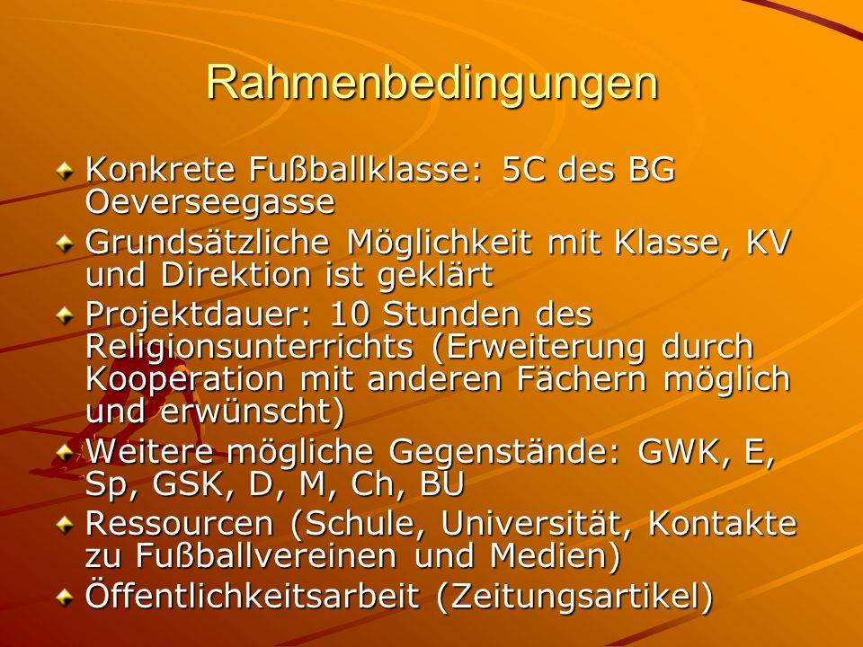 Rahmenbedingungen Konkrete Fußballklasse: 5C des BG Oeverseegasse