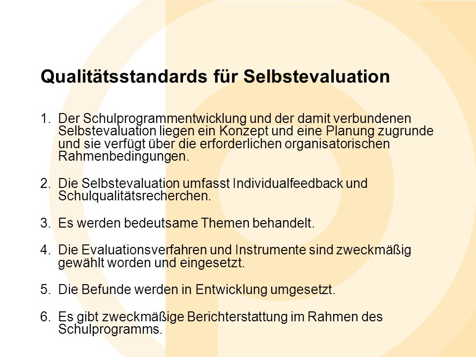Qualitätsstandards für Selbstevaluation