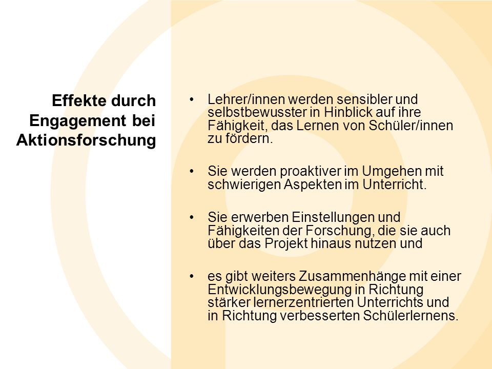 Effekte durch Engagement bei Aktionsforschung