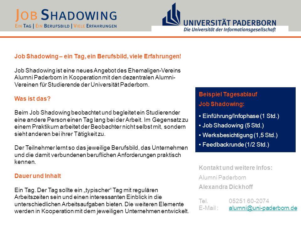 Job Shadowing – ein Tag, ein Berufsbild, viele Erfahrungen!