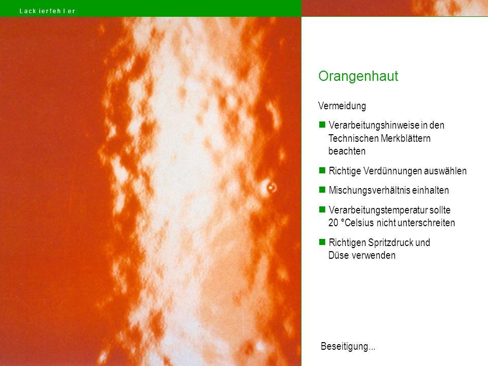 Orangenhaut Vermeidung