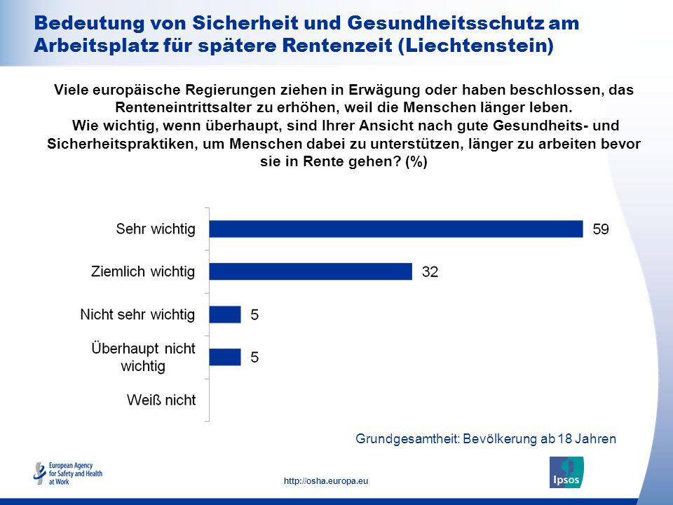 Bedeutung von Sicherheit und Gesundheitsschutz am Arbeitsplatz für spätere Rentenzeit (Liechtenstein)
