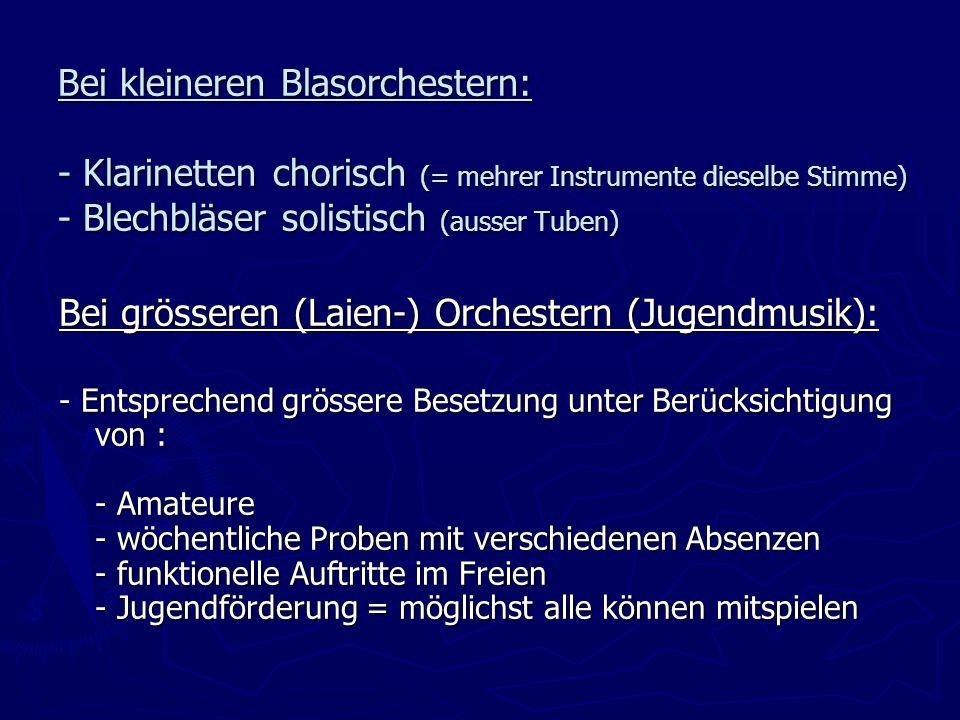 Bei grösseren (Laien-) Orchestern (Jugendmusik):