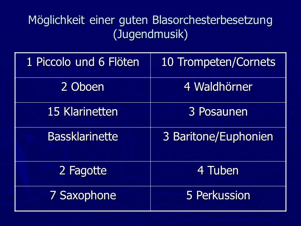 Möglichkeit einer guten Blasorchesterbesetzung (Jugendmusik)