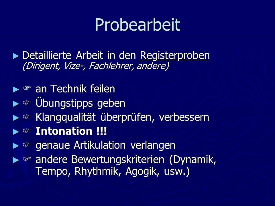Probearbeit Detaillierte Arbeit in den Registerproben (Dirigent, Vize-, Fachlehrer, andere)  an Technik feilen.