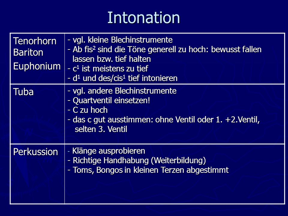 Intonation Tenorhorn Bariton Euphonium Tuba Perkussion