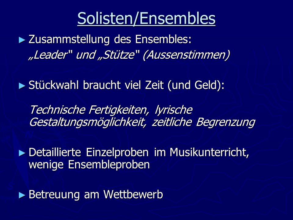 """Solisten/Ensembles Zusammstellung des Ensembles: """"Leader und """"Stütze (Aussenstimmen)"""