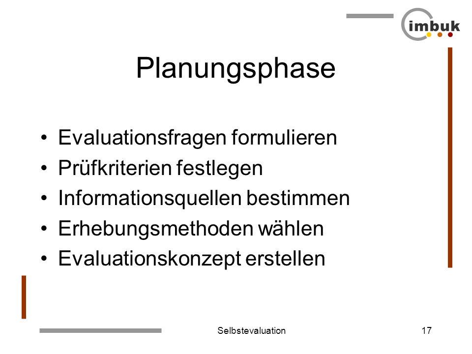 Planungsphase Evaluationsfragen formulieren Prüfkriterien festlegen