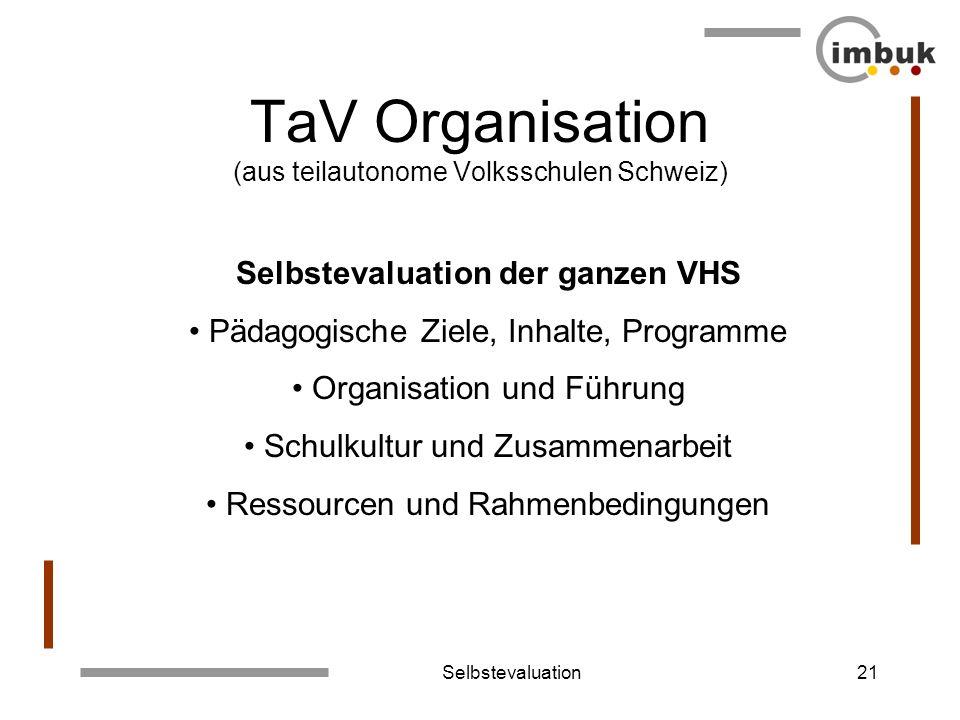 TaV Organisation (aus teilautonome Volksschulen Schweiz)