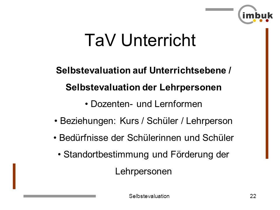 TaV Unterricht Selbstevaluation auf Unterrichtsebene /