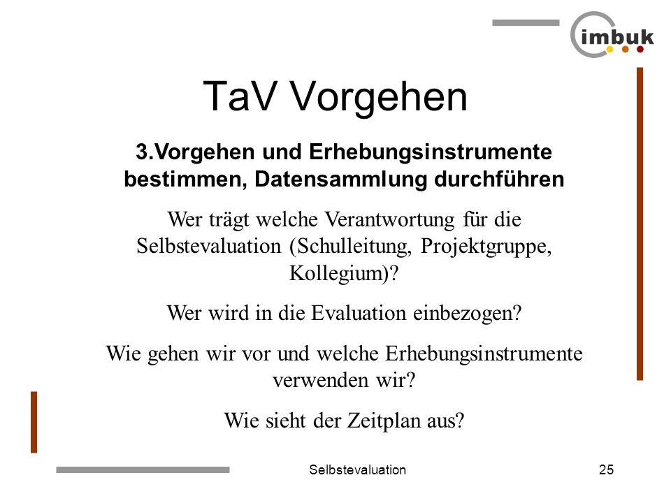 TaV Vorgehen 3.Vorgehen und Erhebungsinstrumente bestimmen, Datensammlung durchführen.