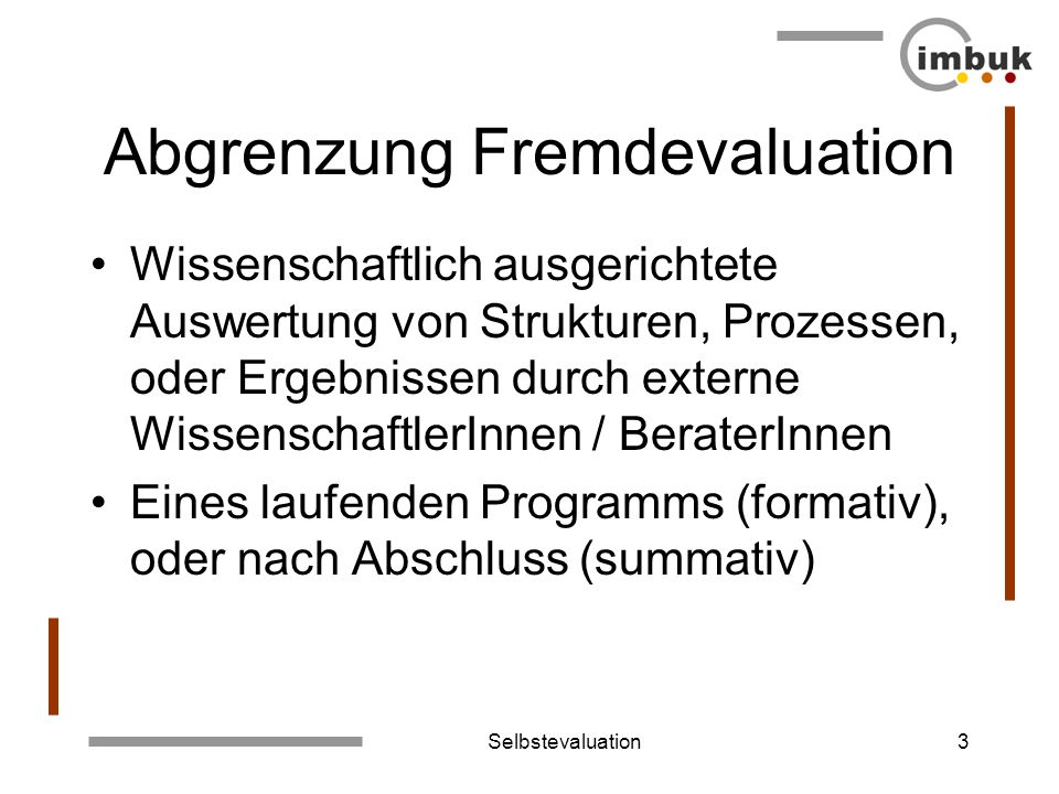 Abgrenzung Fremdevaluation