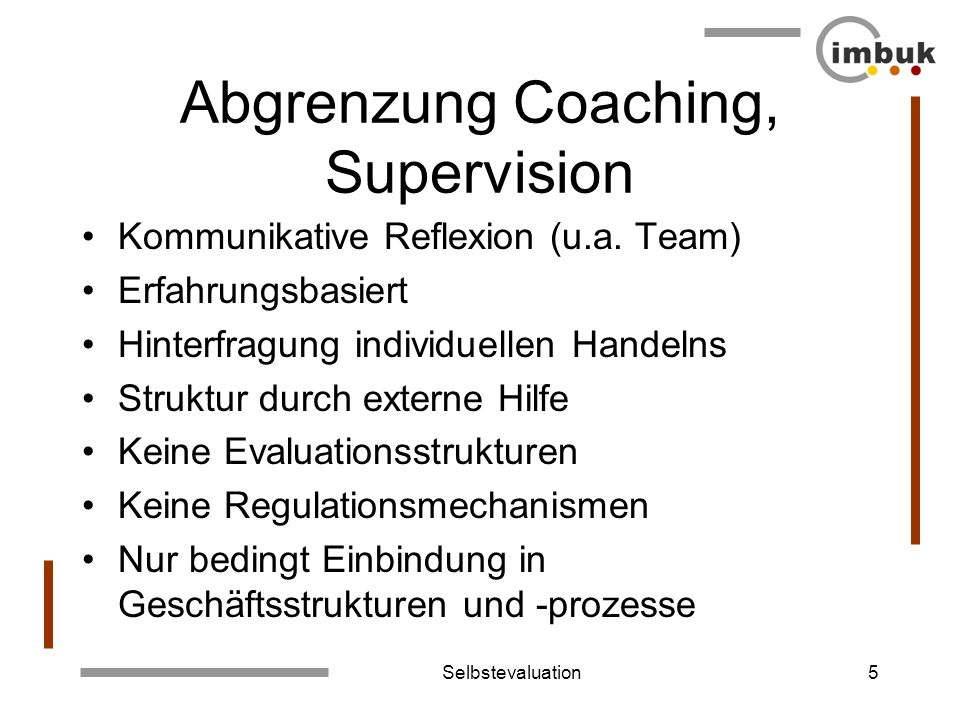 Abgrenzung Coaching, Supervision