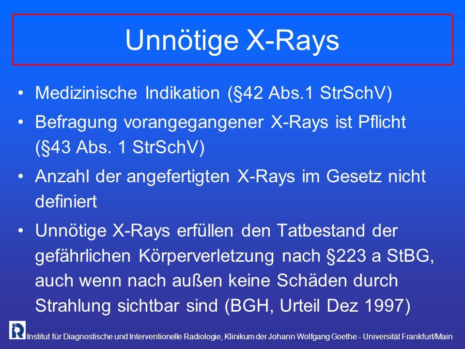 Unnötige X-Rays Medizinische Indikation (§42 Abs.1 StrSchV)