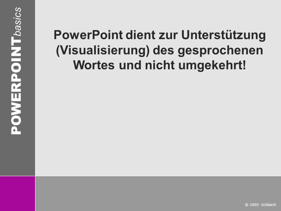 PowerPoint dient zur Unterstützung (Visualisierung) des gesprochenen