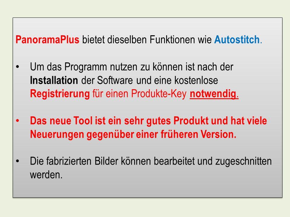 PanoramaPlus bietet dieselben Funktionen wie Autostitch.