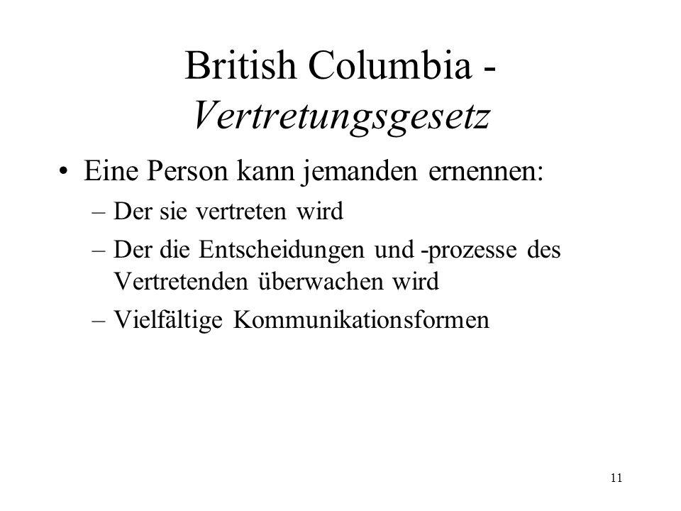 British Columbia - Vertretungsgesetz