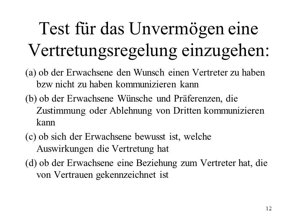 Test für das Unvermögen eine Vertretungsregelung einzugehen: