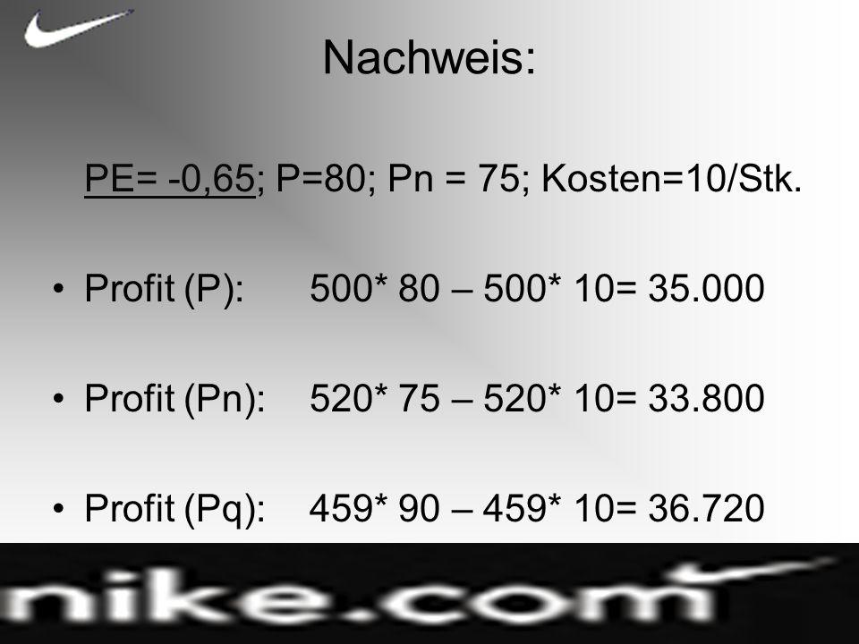 Nachweis: PE= -0,65; P=80; Pn = 75; Kosten=10/Stk.