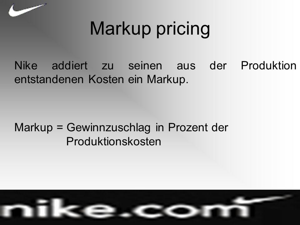 Markup pricing Nike addiert zu seinen aus der Produktion entstandenen Kosten ein Markup.