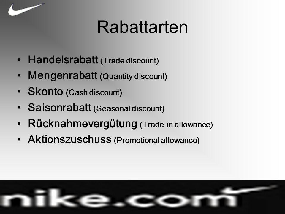Rabattarten Handelsrabatt (Trade discount)