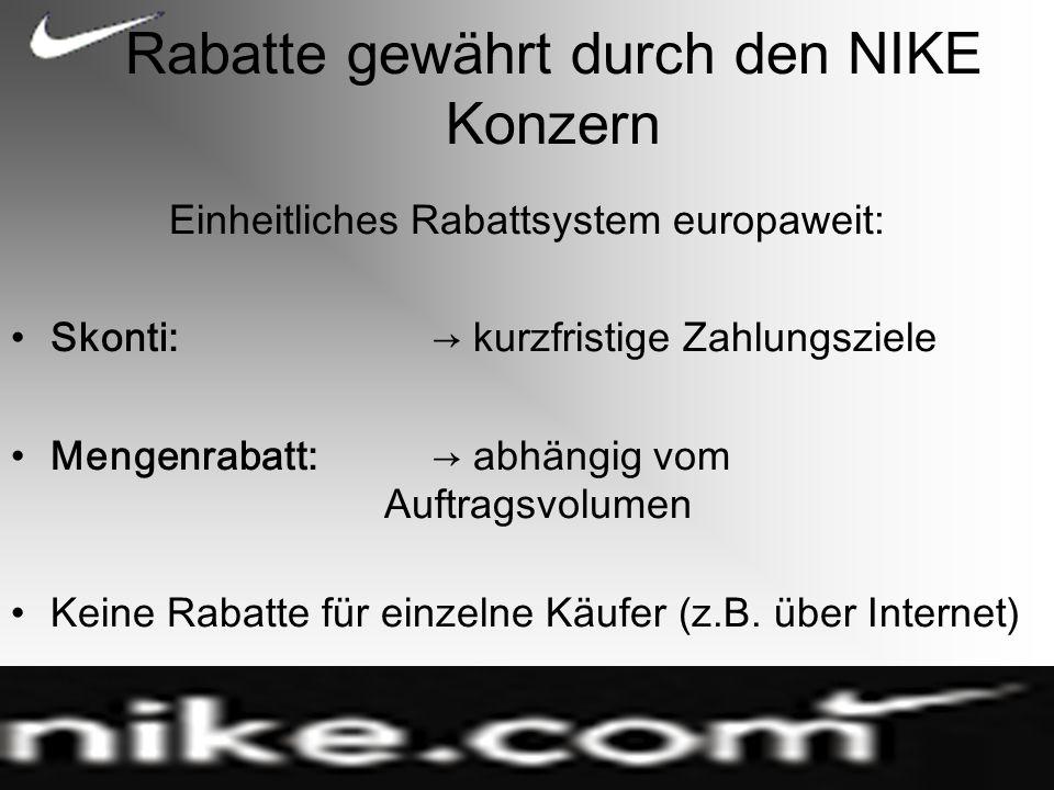 Rabatte gewährt durch den NIKE Konzern