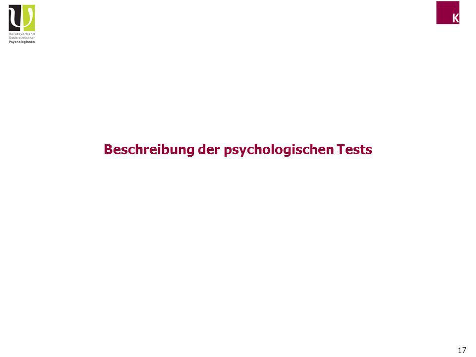 Beschreibung der psychologischen Tests
