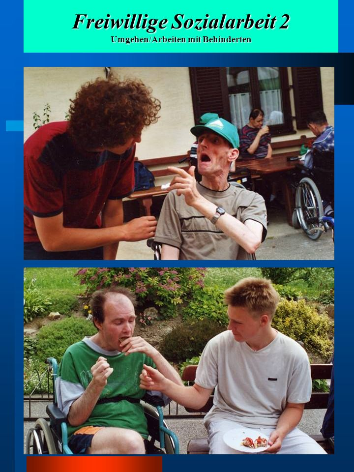 Freiwillige Sozialarbeit 2 Umgehen/Arbeiten mit Behinderten