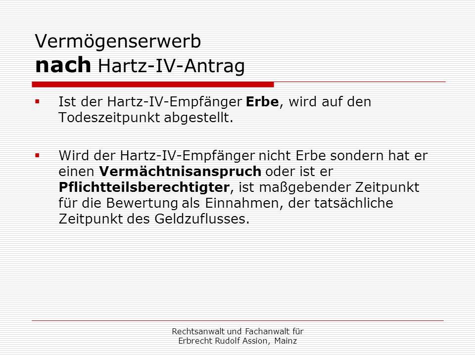 Vermögenserwerb nach Hartz-IV-Antrag