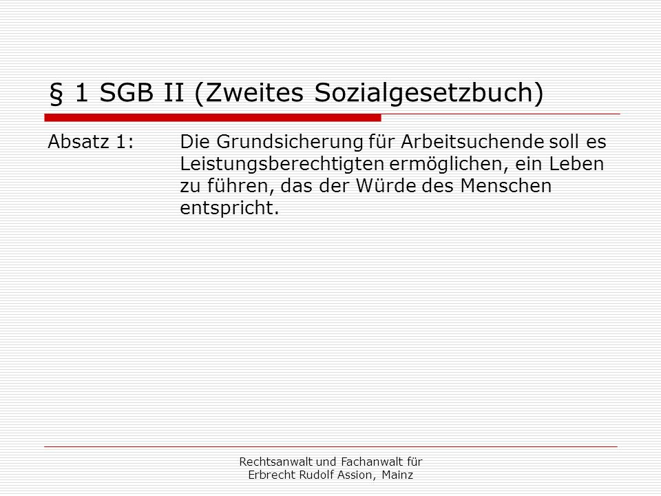 § 1 SGB II (Zweites Sozialgesetzbuch)