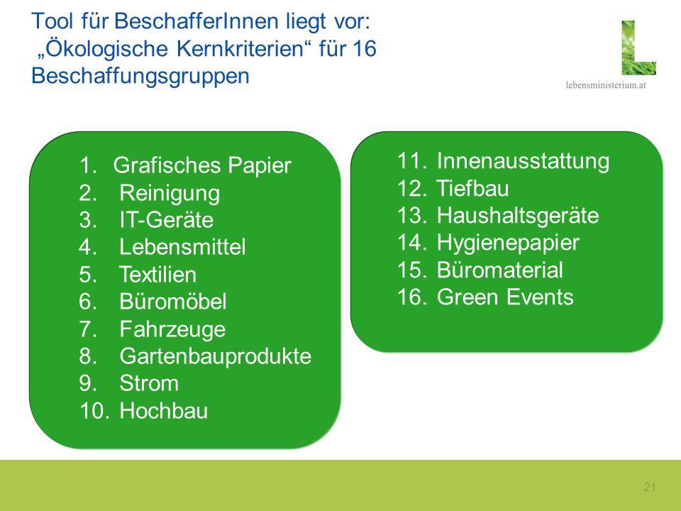 "Tool für BeschafferInnen liegt vor: ""Ökologische Kernkriterien für 16 Beschaffungsgruppen"