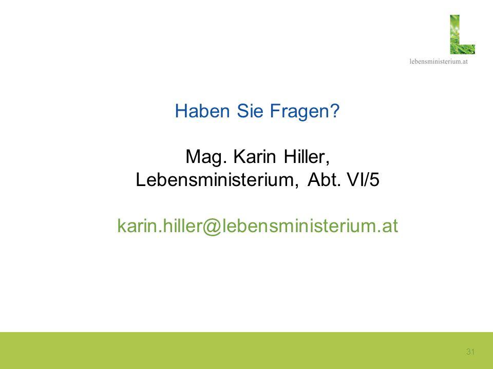 Haben Sie Fragen Mag. Karin Hiller, Lebensministerium, Abt. VI/5 karin.hiller@lebensministerium.at