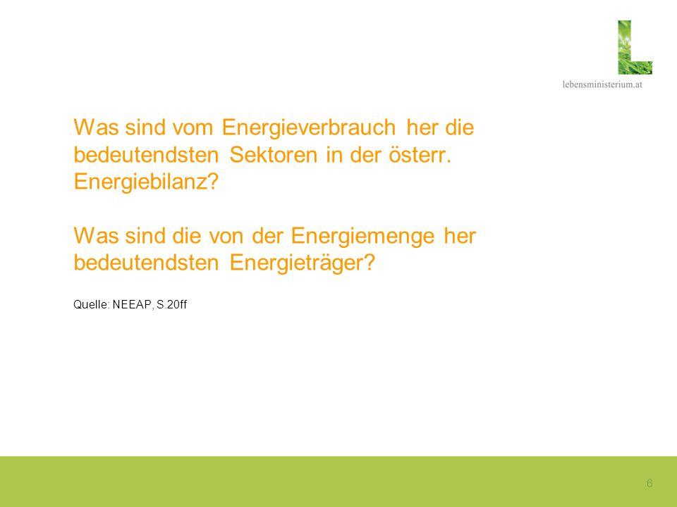 Was sind vom Energieverbrauch her die bedeutendsten Sektoren in der österr.