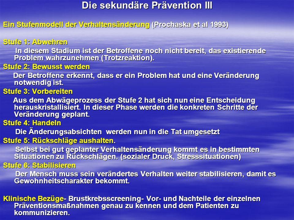 Die sekundäre Prävention III
