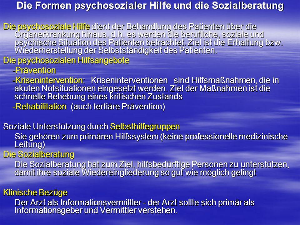 Die Formen psychosozialer Hilfe und die Sozialberatung