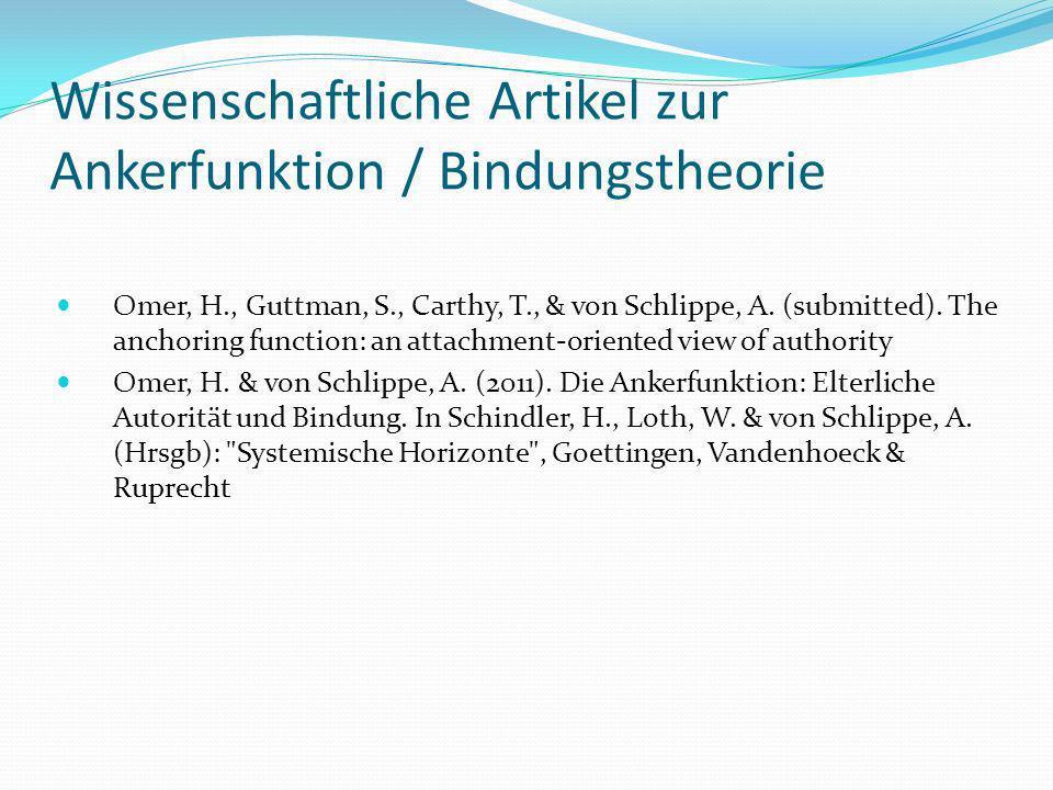 Wissenschaftliche Artikel zur Ankerfunktion / Bindungstheorie