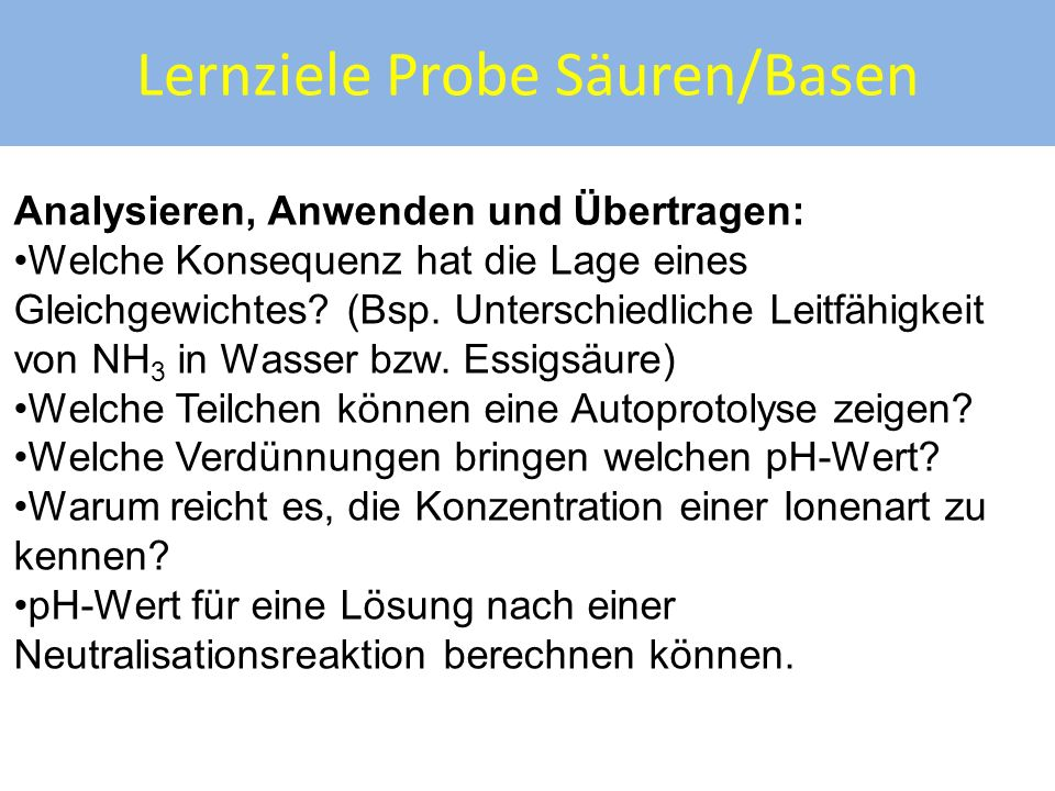 Lernziele Probe Säuren/Basen