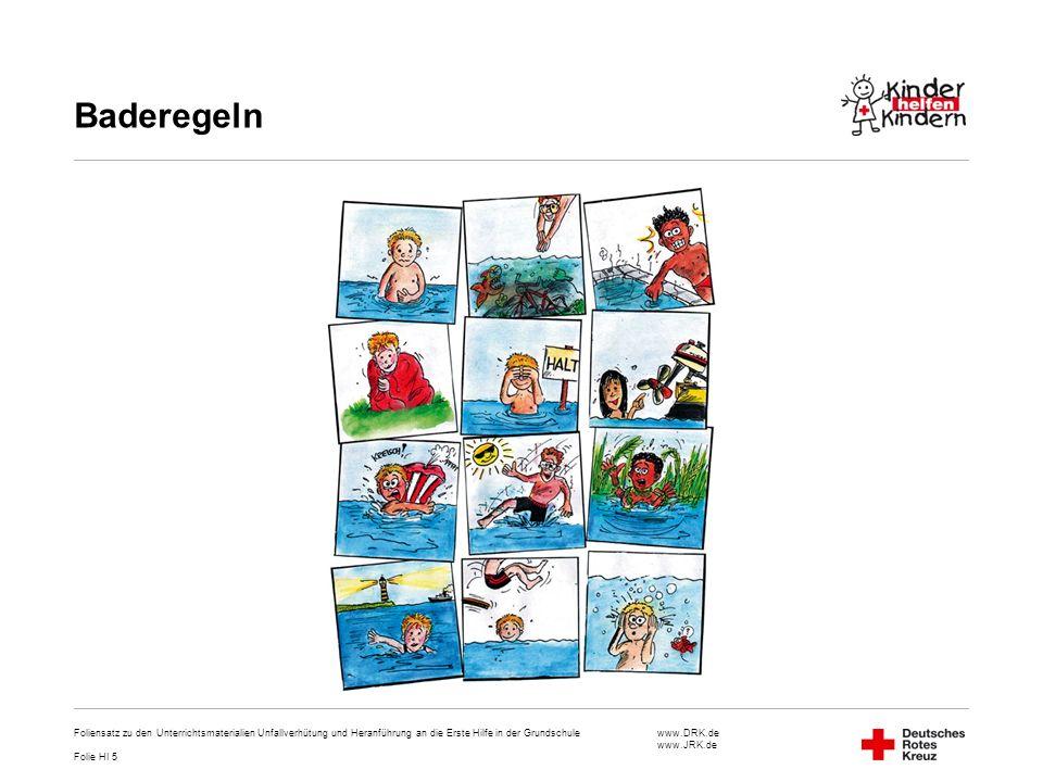 Baderegeln Foliensatz zu den Unterrichtsmaterialien Unfallverhütung und Heranführung an die Erste Hilfe in der Grundschule.