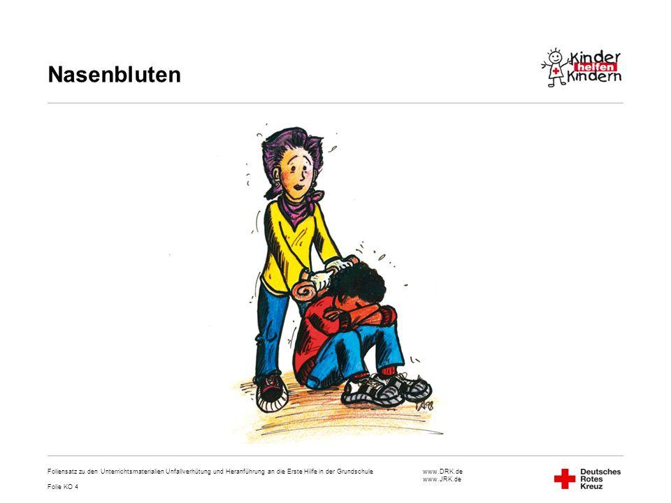 Nasenbluten Foliensatz zu den Unterrichtsmaterialien Unfallverhütung und Heranführung an die Erste Hilfe in der Grundschule.